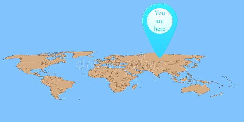 Marqueur de carte sur la carte du monde illustration de vecteur