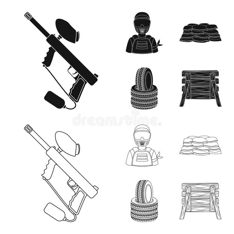 Marqueur de Paintball, joueur et d'autres accessoires Icône simple de Paintball dans le noir, actions de symbole de vecteur de st illustration de vecteur