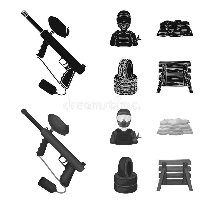 Marqueur de Paintball, joueur et d'autres accessoires Icône simple de Paintball dans le noir, actions de symbole de vecteur de st illustration stock