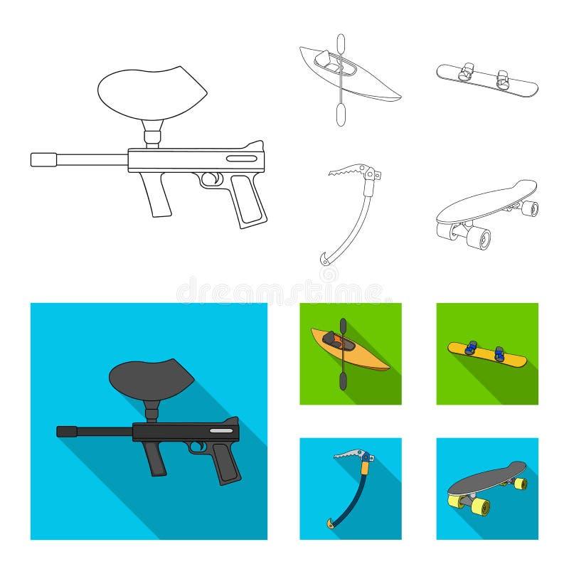 Marqueur de Paintball, kayak avec une palette, surf des neiges et hache de glace s'élevante Icônes réglées de collection de sport illustration de vecteur