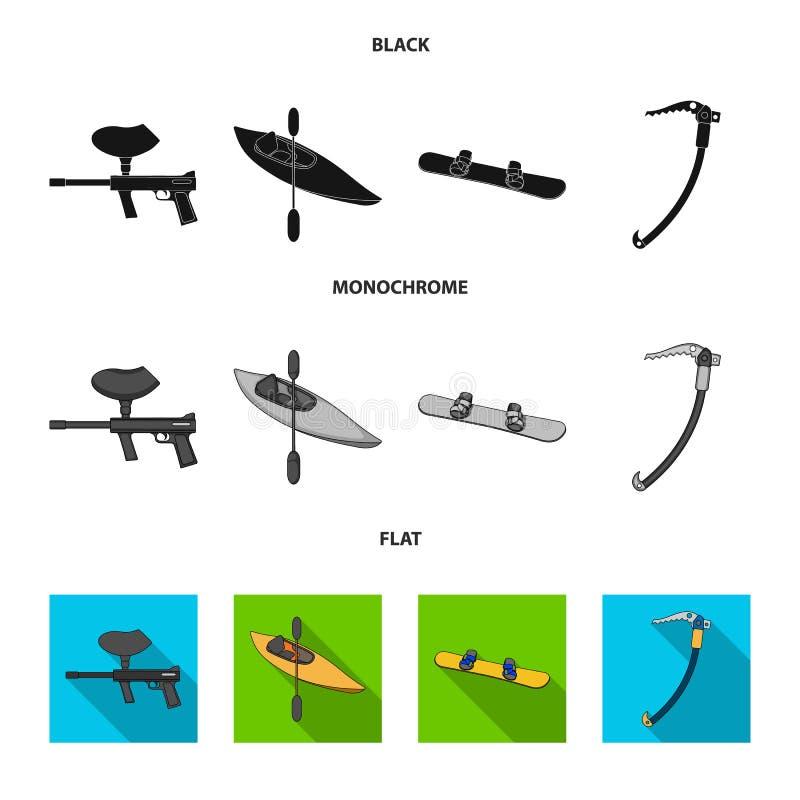 Marqueur de Paintball, kayak avec une palette, surf des neiges et hache de glace s'élevante Icônes réglées de collection de sport illustration libre de droits