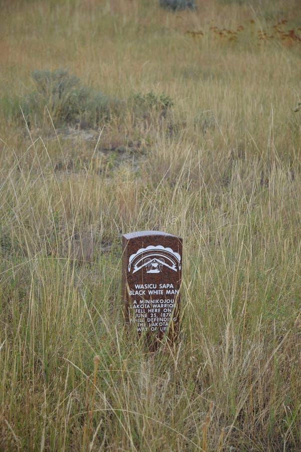Marqueur de pierre tombale de natif américain au cimetière de Little Bighorn photo libre de droits