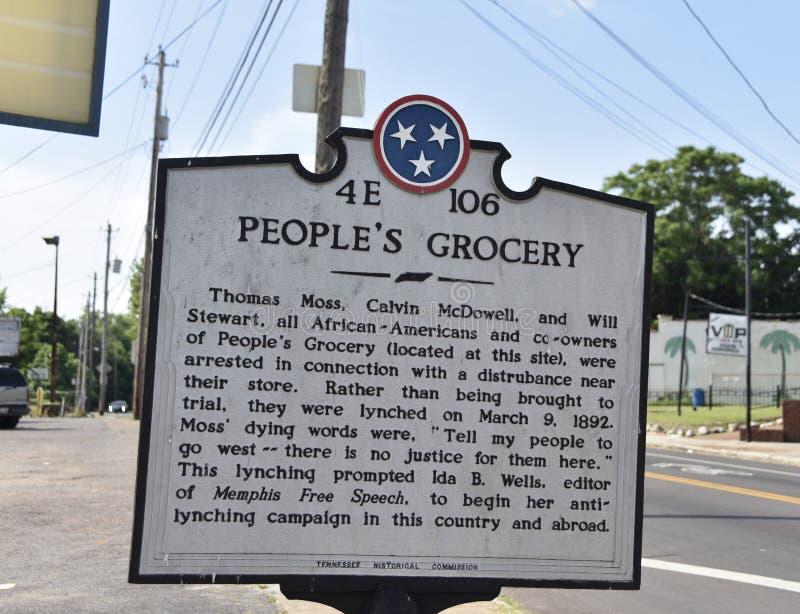 Marqueur historique de l'?picerie des personnes, Memphis, TN photographie stock