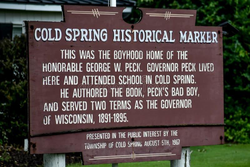 Marqueur historique de ressort froid - ressort froid, le Wisconsin images stock