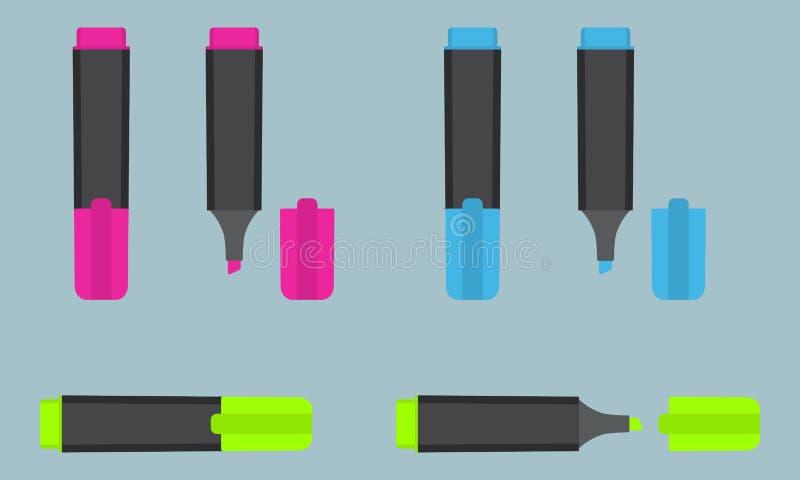 Marqueur permanent de point culminant des textes dans trois couleurs différentes : rose, bleu, vert Papeterie de bureau illustration stock