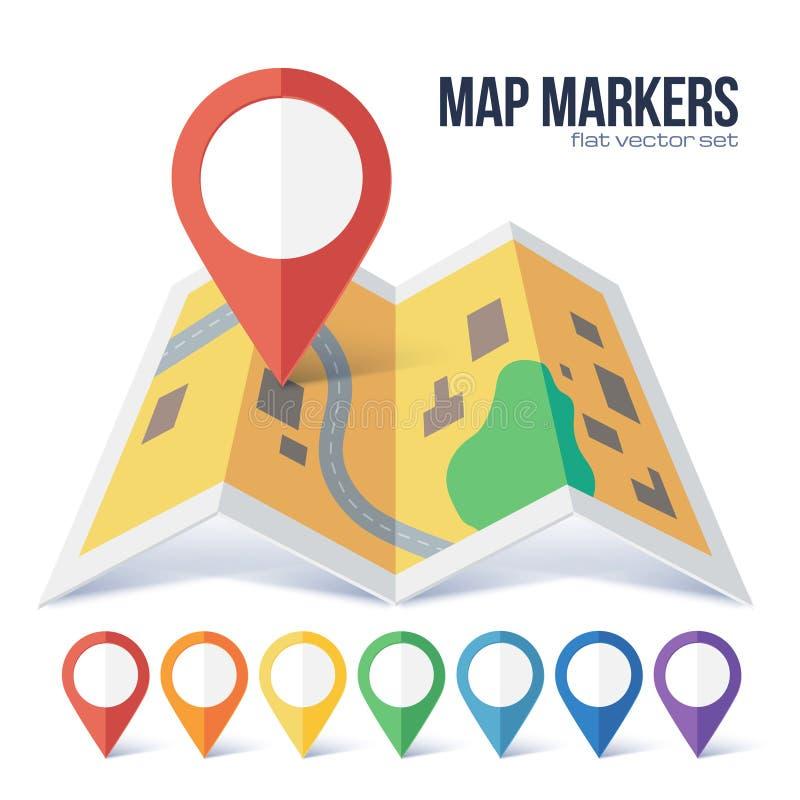 Marqueur rouge de point de vecteur sur la carte jaune de ville dans le style plat illustration de vecteur