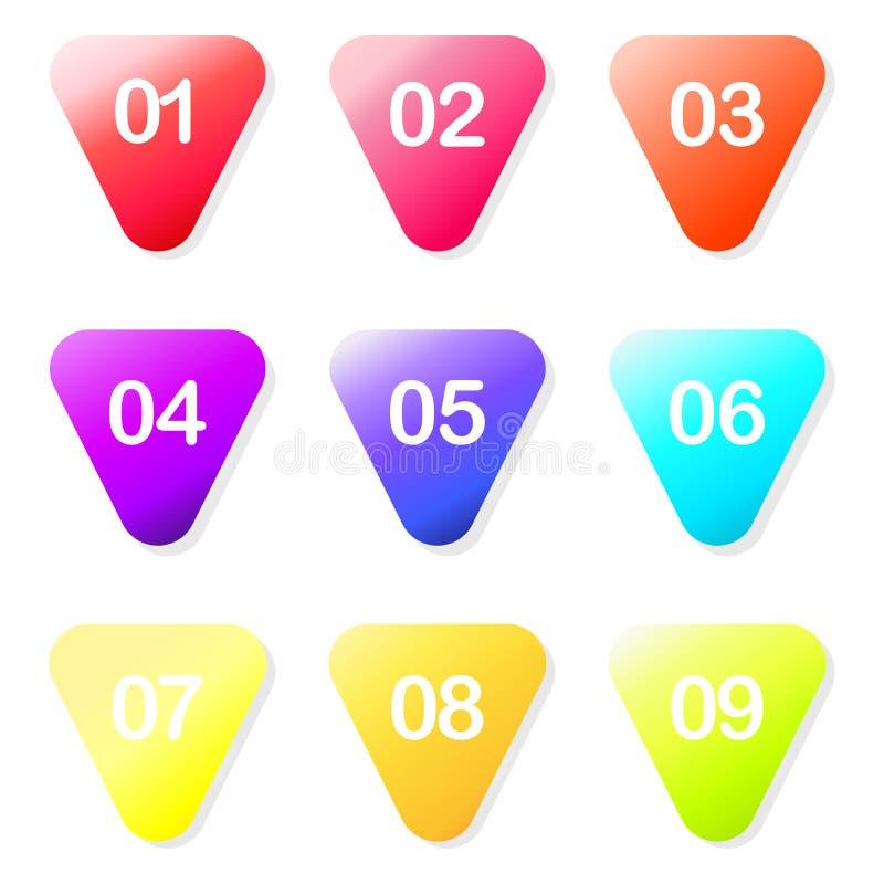 Marqueurs colorés de gradient de stylo à bille de flèche de vecteur avec un nombre d'un à neuf Signes de site Web et de publicité illustration libre de droits