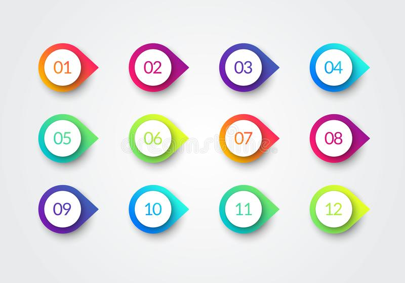 Marqueurs colorés du gradient 3d de gros point noir de flèche de vecteur avec le numéro 1 12 illustration stock