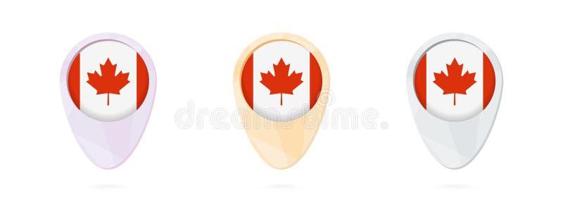 Marqueurs de carte avec le drapeau du Canada, 3 versions de couleur illustration stock