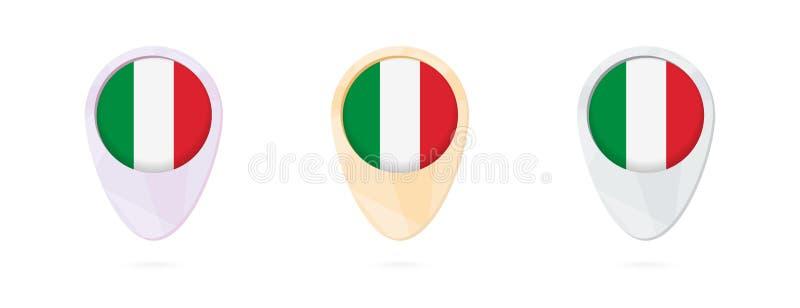 Marqueurs de carte avec le drapeau de l'Italie, 3 versions de couleur illustration de vecteur