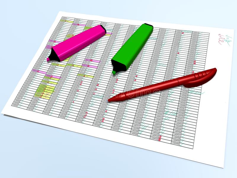 Marqueurs roses et verts de stylo et un stylo rouge sur une grille de commande illustration libre de droits
