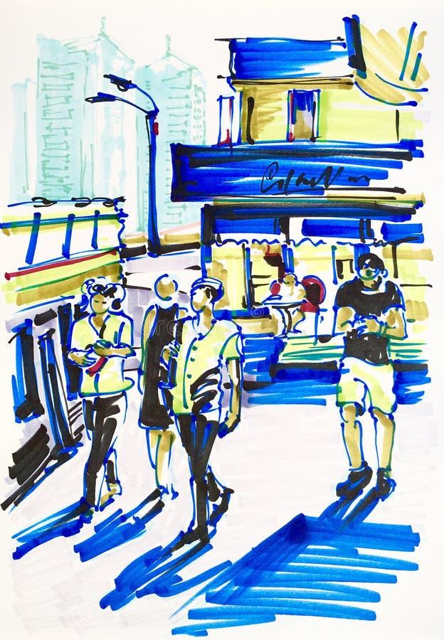 Marqueurs urbains de croquis dessinant sur le papier de la ville de rue illustration de vecteur
