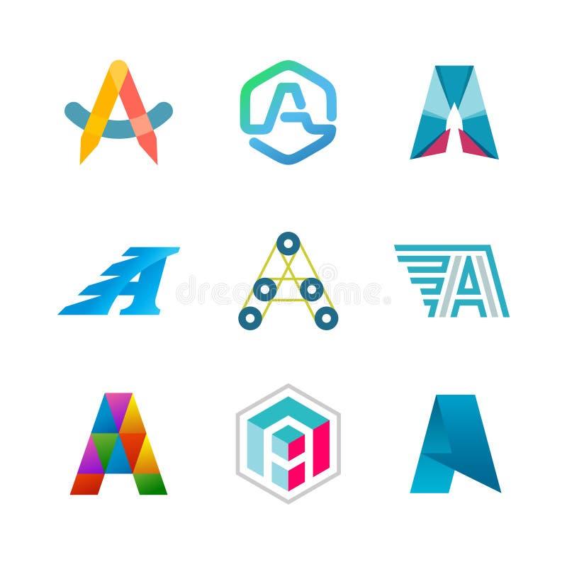 Marquez avec des lettres l'ensemble de logo d'A Conception de calibres d'icône de couleur illustration stock