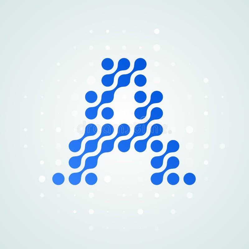Marquez avec des lettres l'icône tramée moderne de logo d'A Dirigez la ligne bleue futuriste conception numérique à la mode de po illustration libre de droits