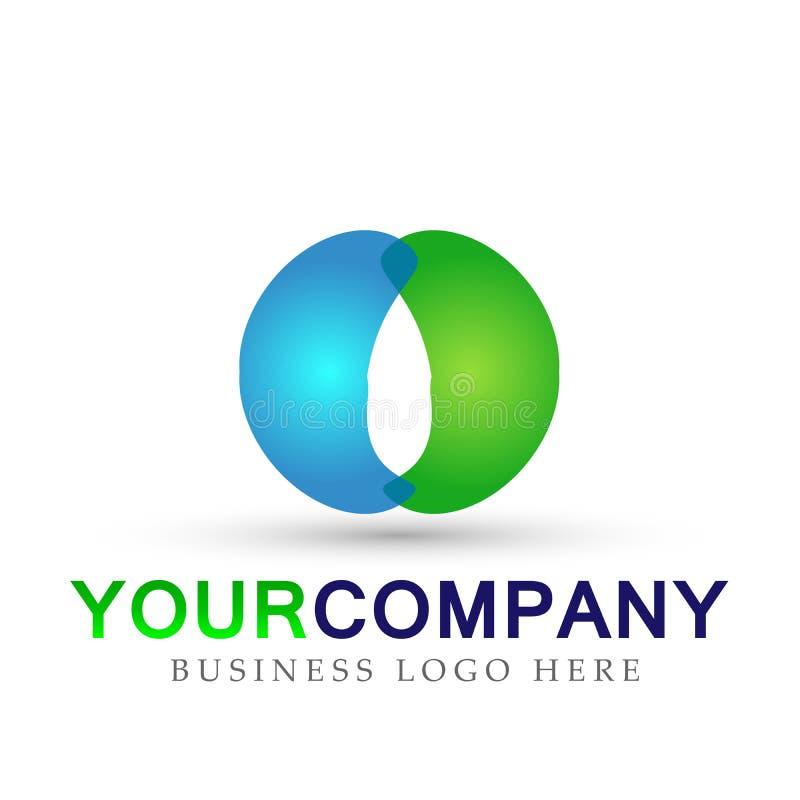 Marquez avec des lettres la conception bleue et verte de logo d'élément d'icône de logo formée par O sur le fond blanc illustration de vecteur
