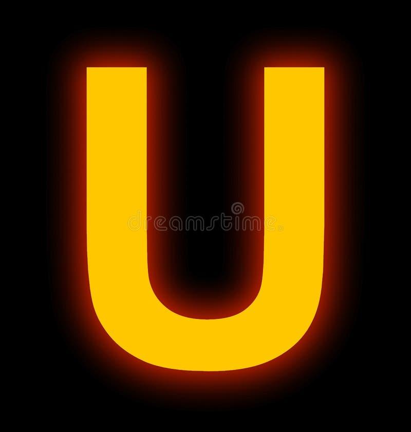Marquez avec des lettres la lampe au néon d'U complètement d'isolement sur le noir illustration de vecteur