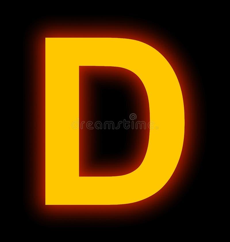 Marquez avec des lettres la lampe au néon de D complètement d'isolement sur le noir illustration stock