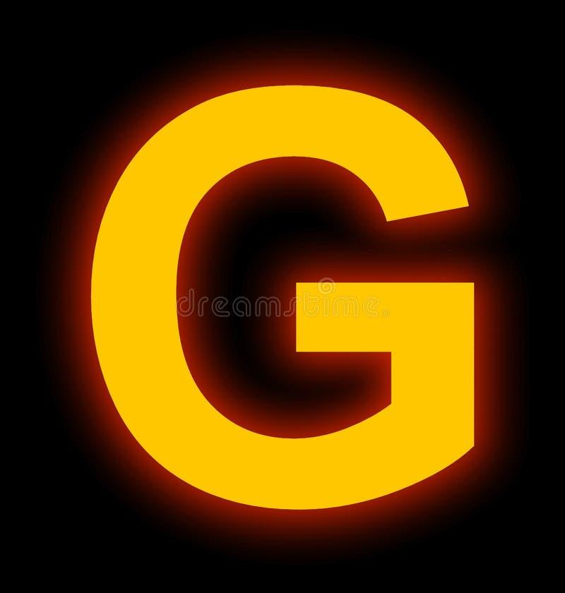 Marquez avec des lettres la lampe au néon de G complètement d'isolement sur le noir illustration stock