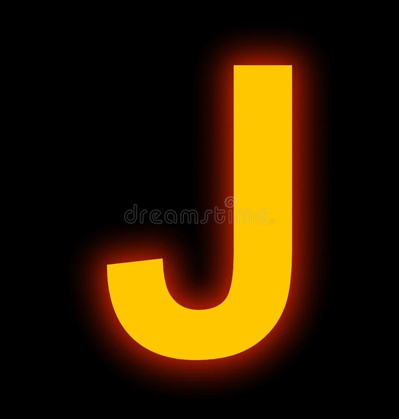 Marquez avec des lettres la lampe au néon de J complètement d'isolement sur le noir illustration stock