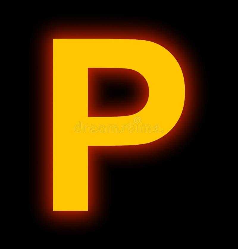 Marquez avec des lettres la lampe au néon de P complètement d'isolement sur le noir illustration de vecteur