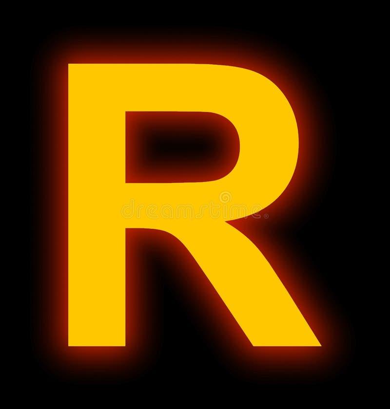 Marquez avec des lettres la lampe au néon de R complètement d'isolement sur le noir illustration de vecteur
