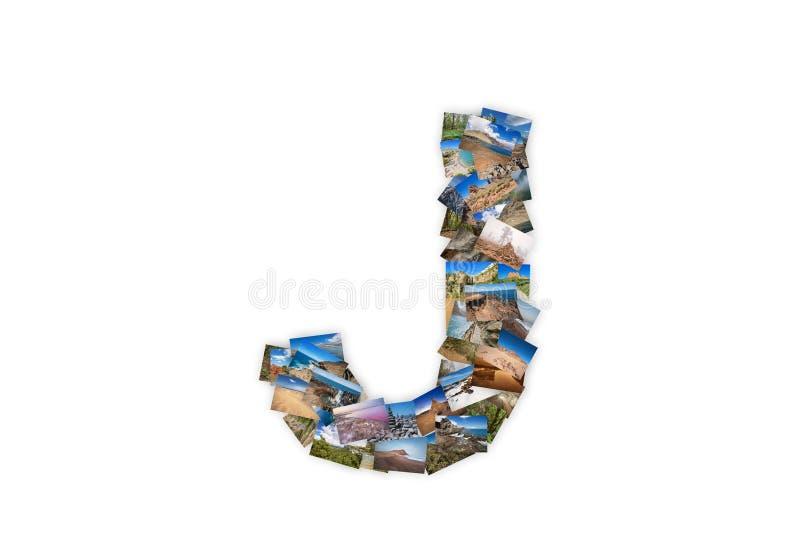 Marquez avec des lettres la police majuscule de J pour former le collage d'alphabet fait en mon meilleur l illustration libre de droits