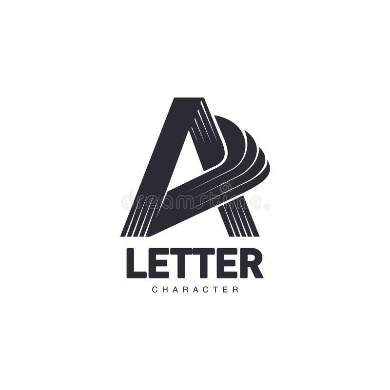 Marquez avec des lettres le calibre de logo d'A avec le milieu trois-bordé d'étoile illustration de vecteur