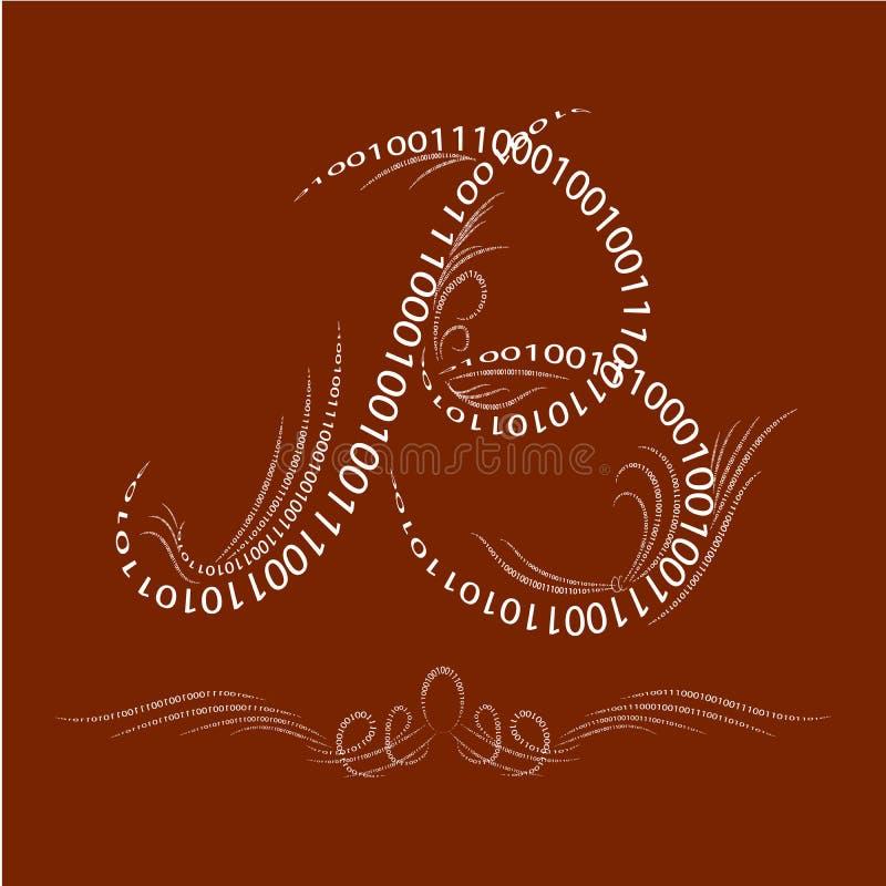 Marquez avec des lettres le ` du ` B sur un beau fond, calligraph numérique illustration de vecteur