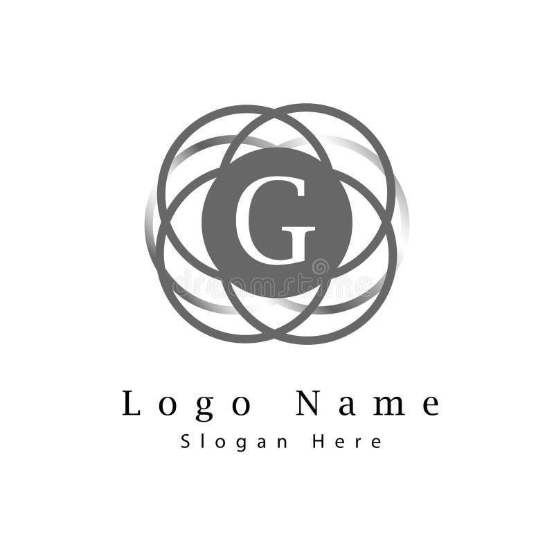 Marquez avec des lettres le logo de G avec la partie de fond de cercle d'infini illustration libre de droits