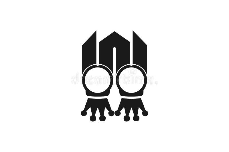 marquez avec des lettres le logo de W, anneau, épousant le logo illustration stock