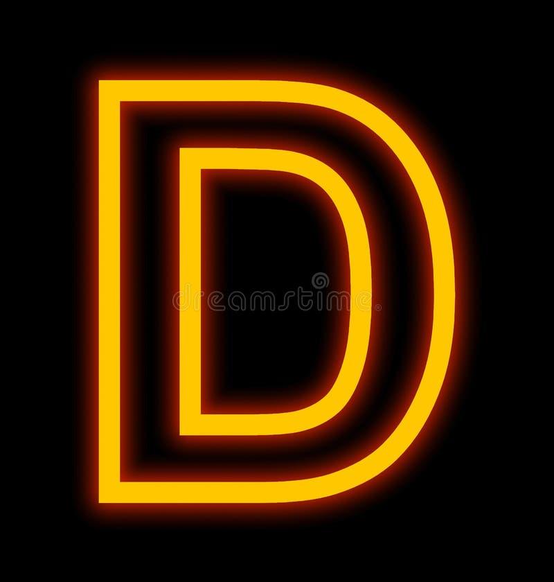 Marquez avec des lettres les lampes au néon de D décrites d'isolement sur le noir illustration stock