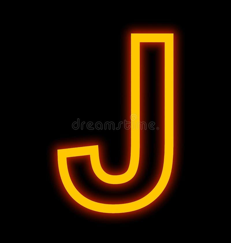 Marquez avec des lettres les lampes au néon de J décrites d'isolement sur le noir illustration libre de droits