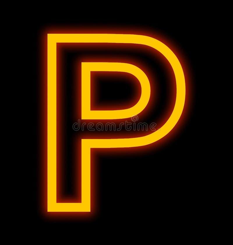 Marquez avec des lettres les lampes au néon de P décrites d'isolement sur le noir illustration libre de droits