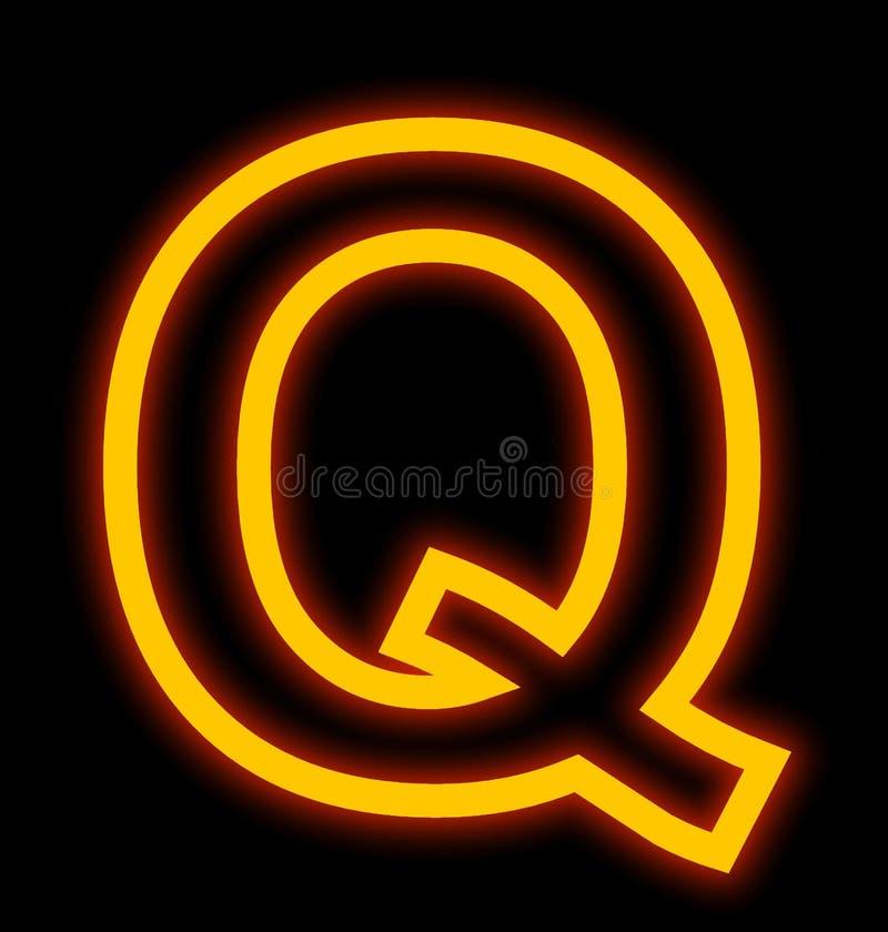Marquez avec des lettres les lampes au néon de Q décrites d'isolement sur le noir illustration libre de droits