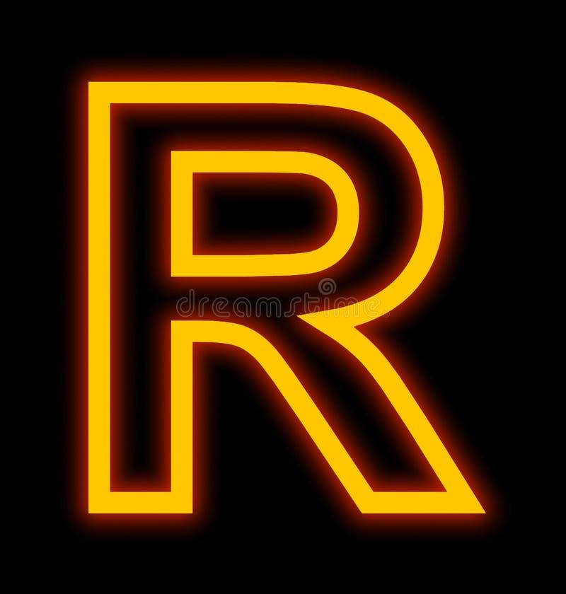 Marquez avec des lettres les lampes au néon de R décrites d'isolement sur le noir illustration libre de droits
