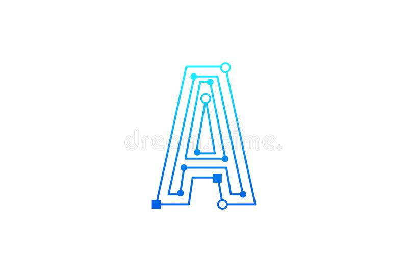 Marquez avec des lettres Logo Design Template Type concept de logo de schéma de construction de logo abstrait de technologie illustration stock