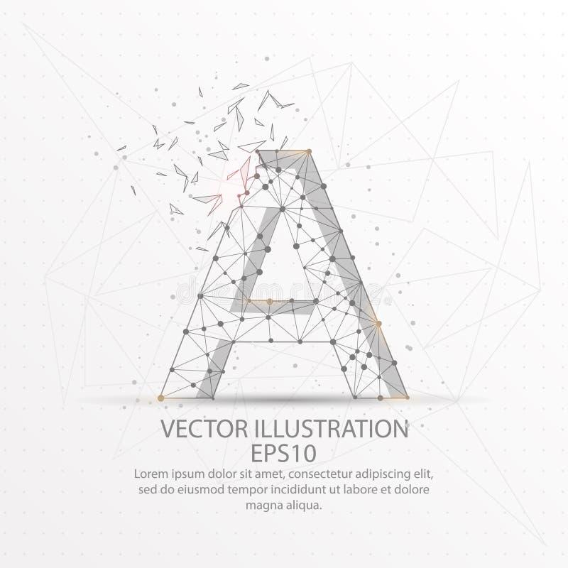 Marquez avec des lettres un bas poly cadre de fil de forme sur le fond blanc illustration stock