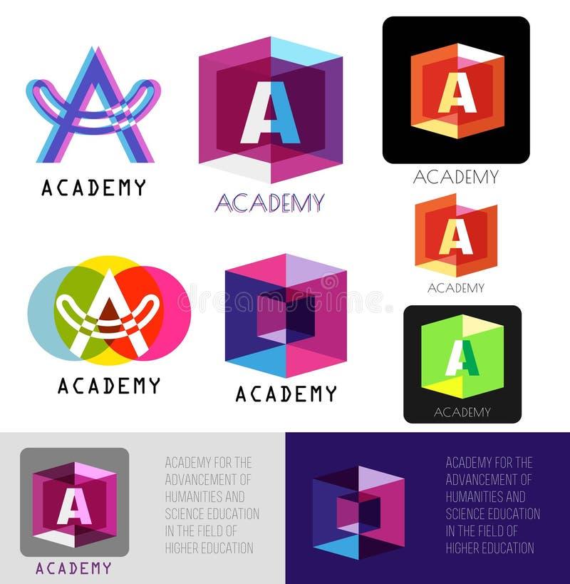 Marquez avec des lettres un logo Lettre A de calibre Icônes de logo d'académie illustration de vecteur