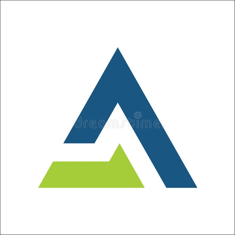 Marquez avec des lettres un vecteur de logo d'affaires de triangle, calibre d'appli de symboles illustration stock