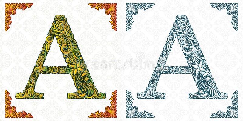 Marquez avec des lettres A Vecteur Alphabet décoratif sur le fond blanc Impression fine d'isolement monogramme Ornement de feuill illustration libre de droits