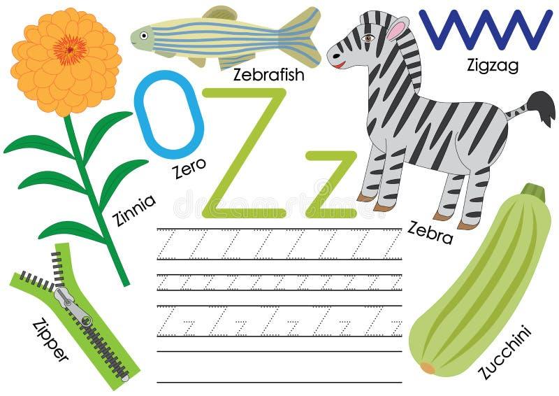Marquez avec des lettres Z Éducation pour des enfants Étude de l'alphabet anglais avec la pratique en matière d'écriture illustration de vecteur