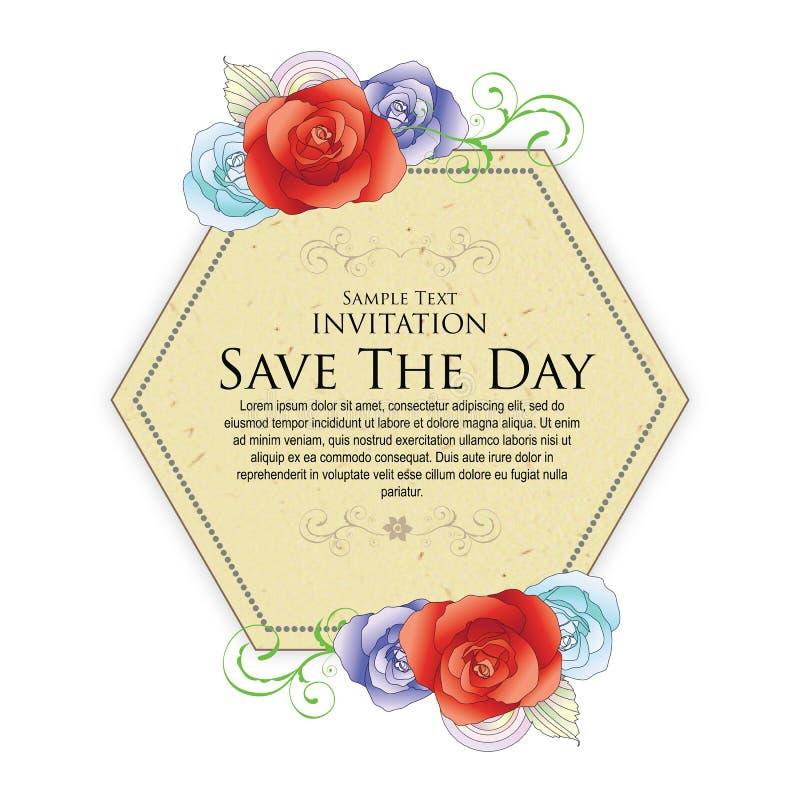 Marquez l'exclusivité de vintage de fleur de mariage d'hexagone photos libres de droits