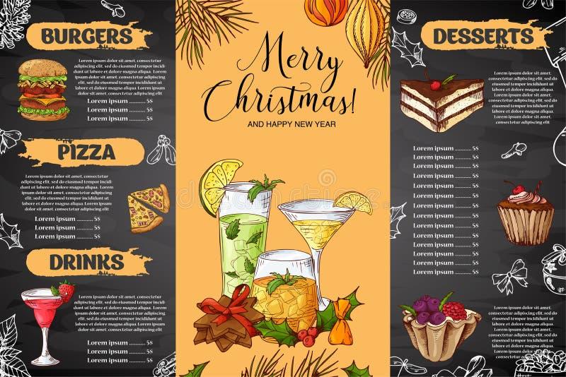 Marquez la conception à la craie drawning de menu de Noël Calibre de conception d'hiver pour le café, restaurant Nourriture, bois illustration de vecteur