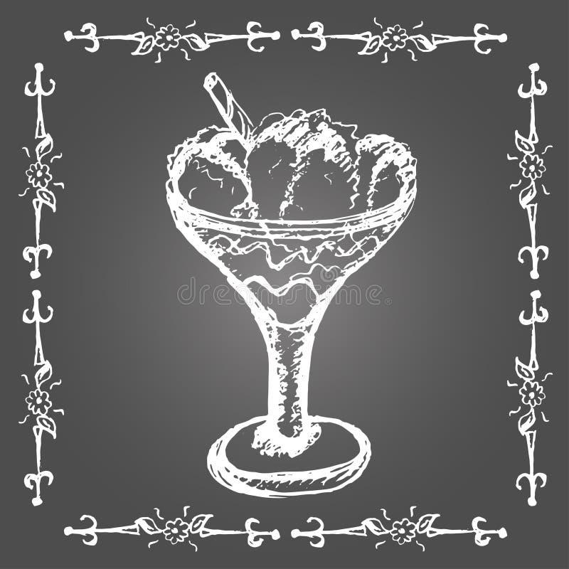 Marquez la crème glacée à la craie en verre avec le bâton de cannelle illustration de vecteur