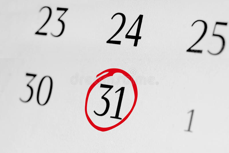 Marquez la date le numéro 31 photographie stock