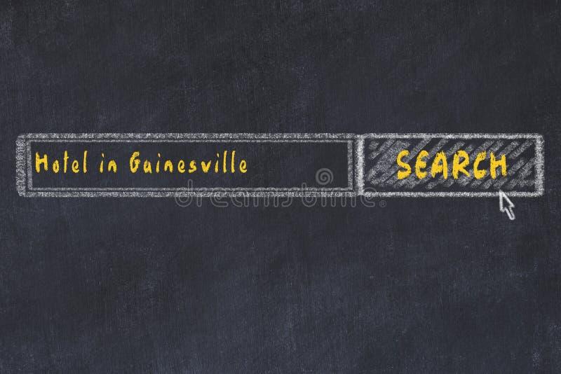 Marquez le croquis ? la craie du moteur de recherche Concept de rechercher et de réserver un hôtel à Gainesville photos stock