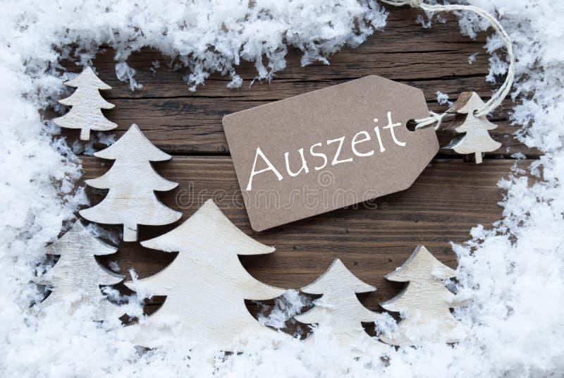 Marquez le temps d'arrêt de moyens d'Auszeit d'Allemand de neige d'arbres de Noël images libres de droits
