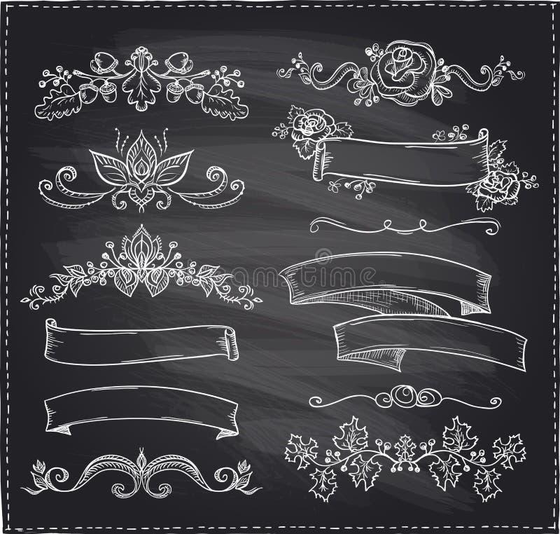 Marquez le thème à la craie graphique de ligne éléments, d'amour et de mariage, rubans de style de vintage illustration stock