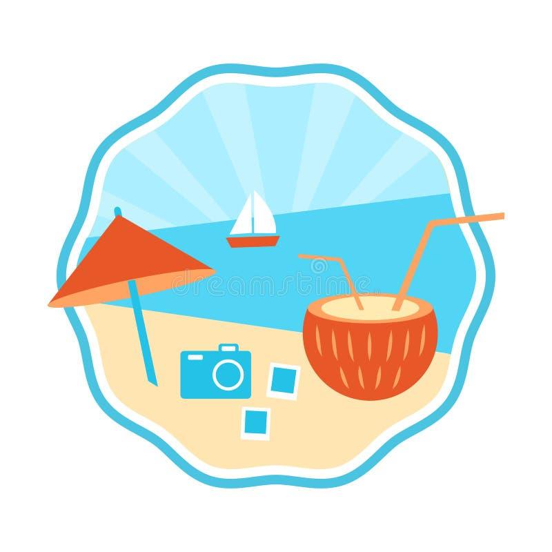 Marquez le tourisme, autocollant rond d'été Illustration de vecteur illustration stock