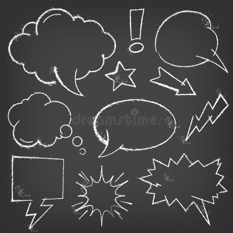 Marquez les bulles et les éléments à la craie comiques sur un tableau noir illustration libre de droits